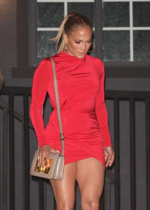 Jennifer Lopez in Red Mini Dress - Out in West Hollywood