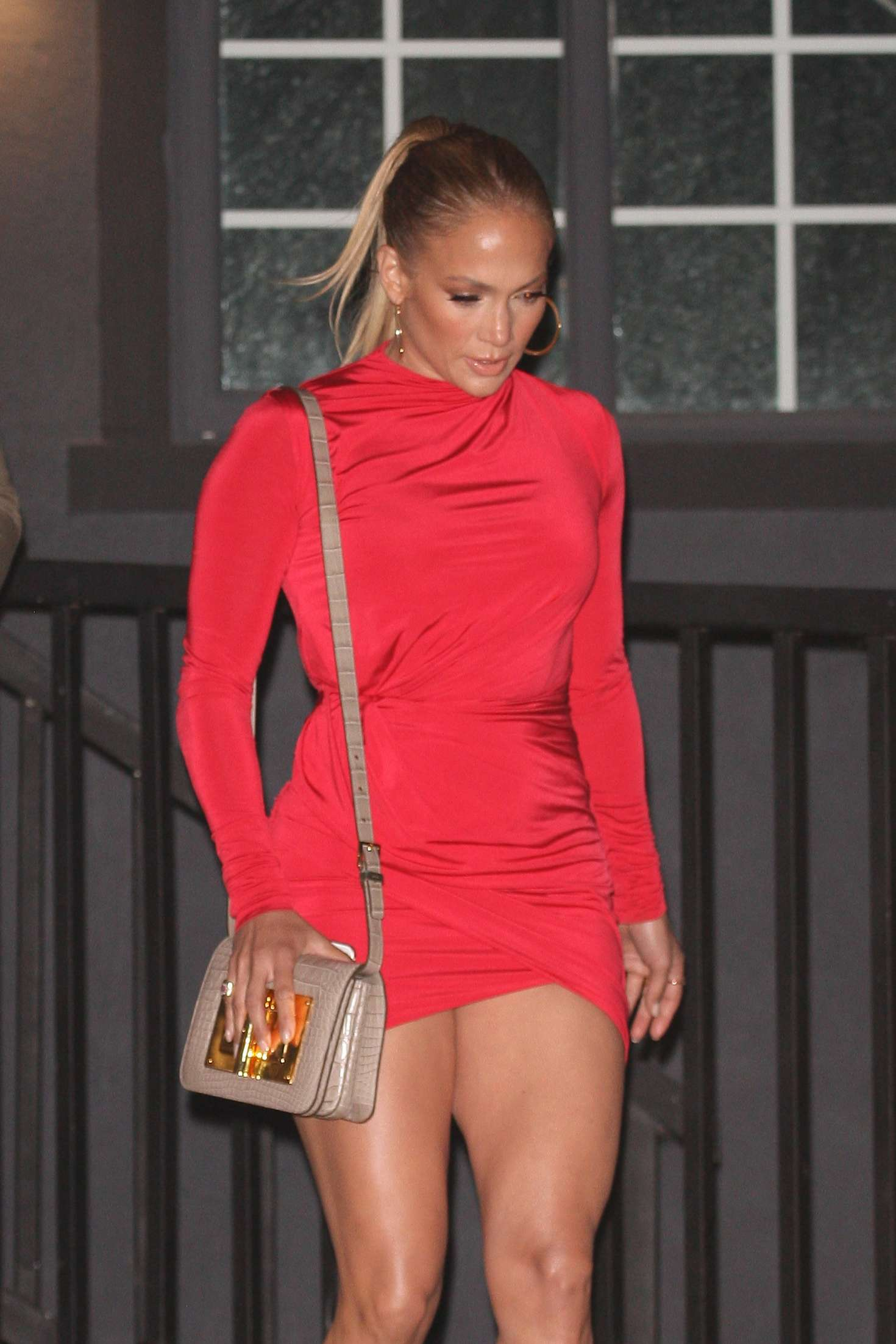 Jennifer Lopez in Red Mini Dress – Out in West Hollywood