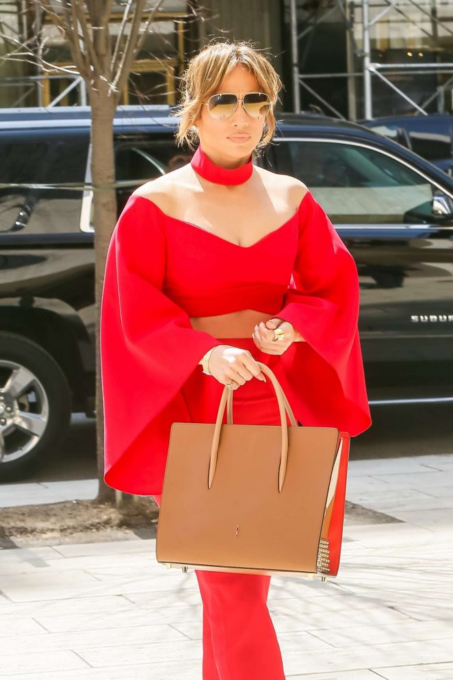 Jennifer Lopez in Red outfit in New York