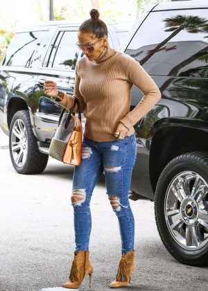 Jennifer Lopez in Ripped Jeans at a Medical Office in Miami