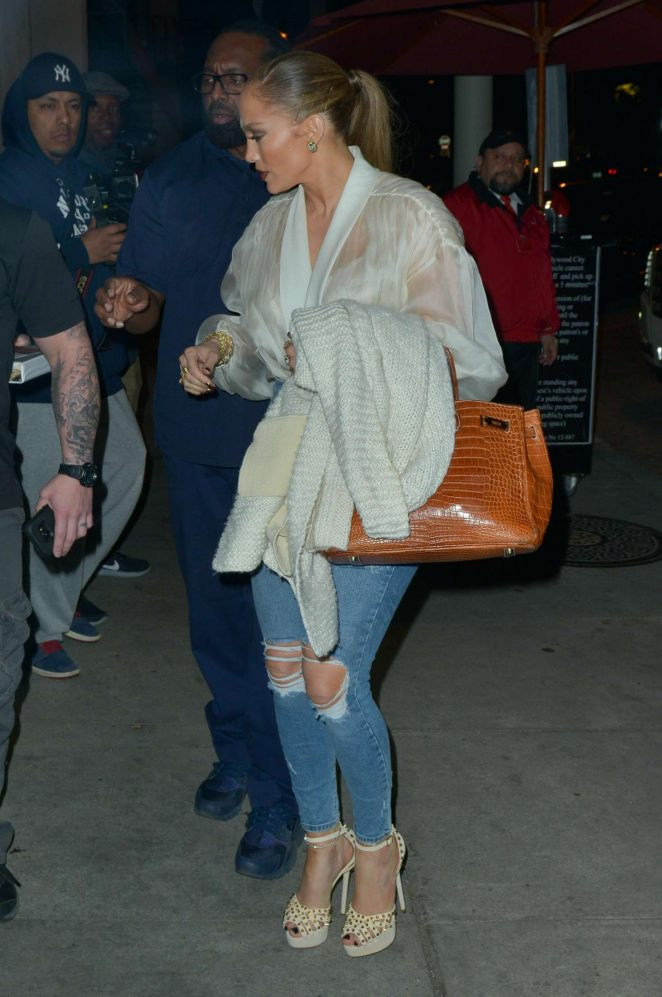 94b48adc8ed Jennifer Lopez in Ripped Jeans at Craig's in Beverly Hills | GotCeleb