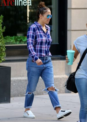 Jennifer Lopez in Ripped Jeans out in New York City