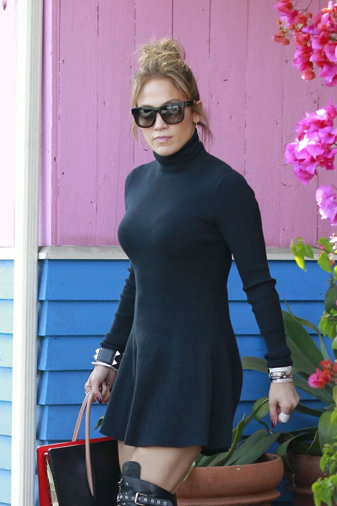 Jennifer Lopez in Short Black Dress at Pink Taco in West Hollywood