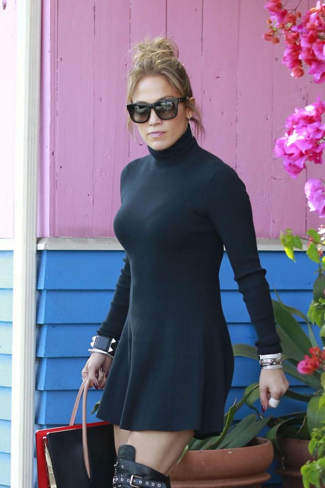 Jennifer Lopez in Short Black Dress at Pink Taco in West Hollywood