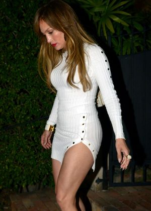 Jennifer Lopez in Short White Dress out in Miami