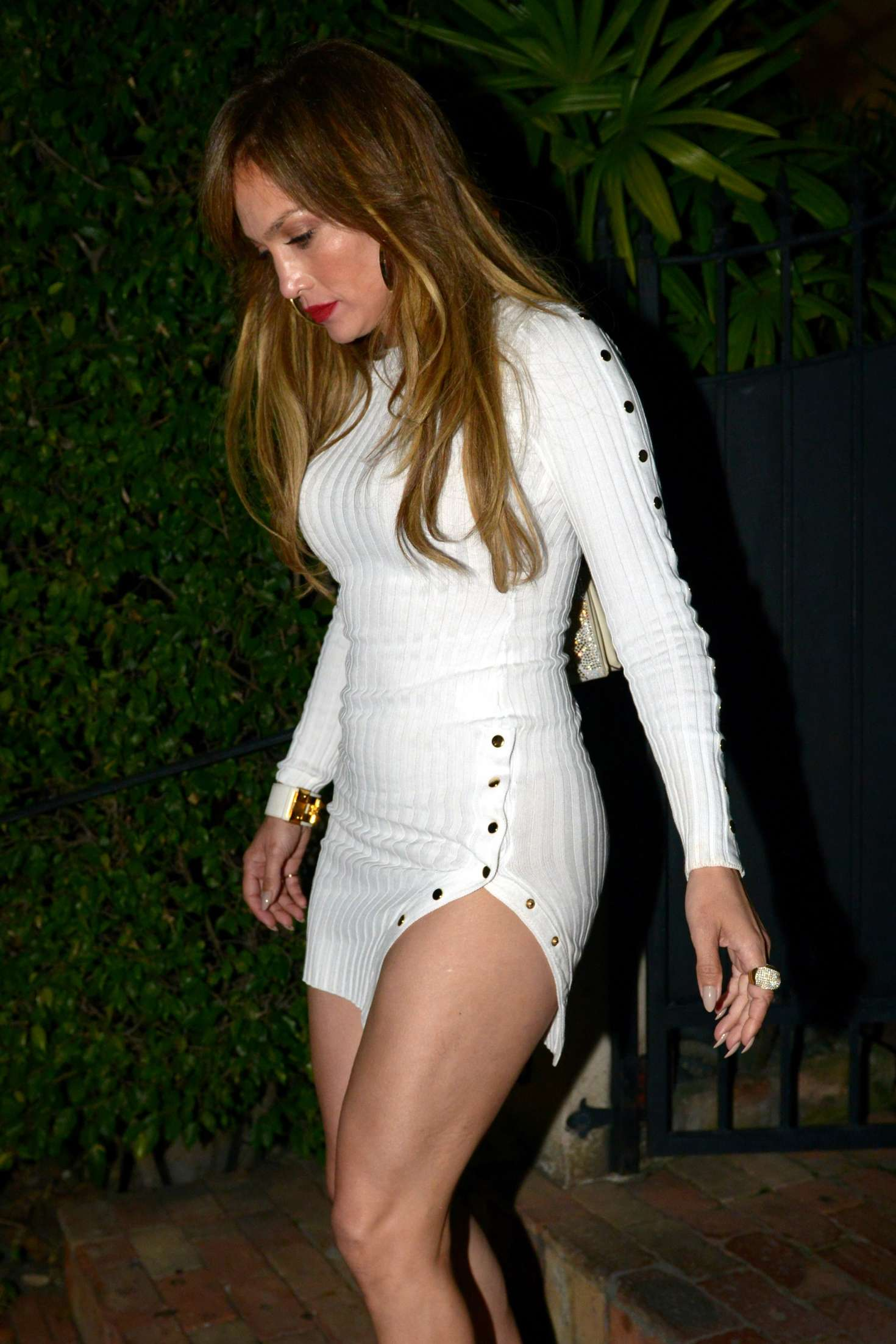 Jennifer Lopez in Short White Dress out in Miami
