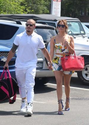 Jennifer Lopez in Shorts with Casper Smart -10