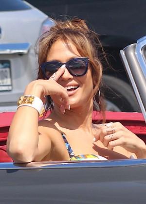 Jennifer Lopez in Shorts with Casper Smart -11