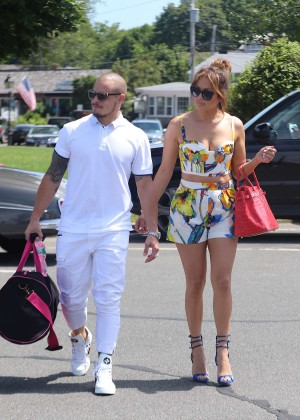 Jennifer Lopez in Shorts with Casper Smart Out in NYC