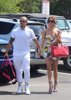 Jennifer Lopez in Shorts with Casper Smart -17