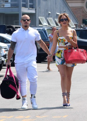 Jennifer Lopez in Shorts with Casper Smart -22