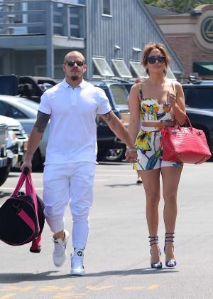 Jennifer Lopez in Shorts with Casper Smart -30