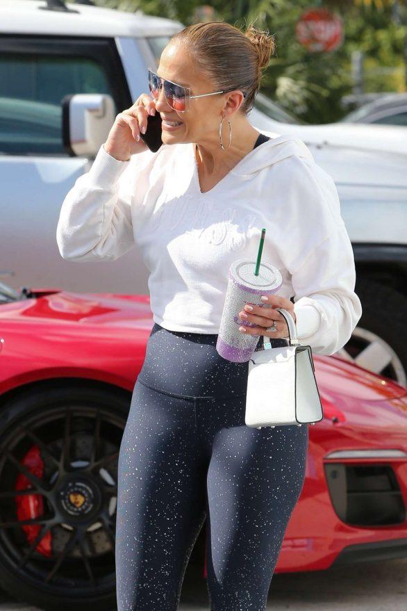 Jennifer Lopez in Spandex - Hits the gym in Miami