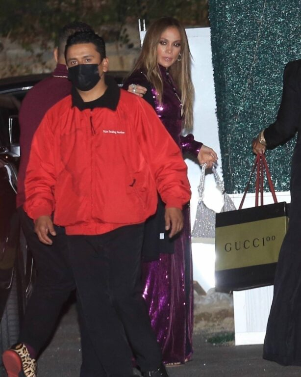 Jennifer Lopez - In sparkling purple dress as she steps out to dinner in West Hollywood