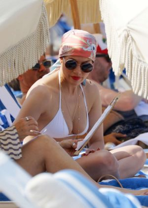 Jennifer Lopez in White Bikini Top on the Beach in Miami