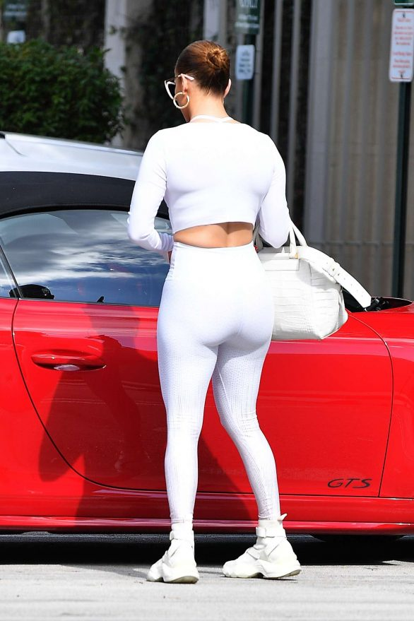Jennifer Lopez in White Gym Outfit - Out in Miami