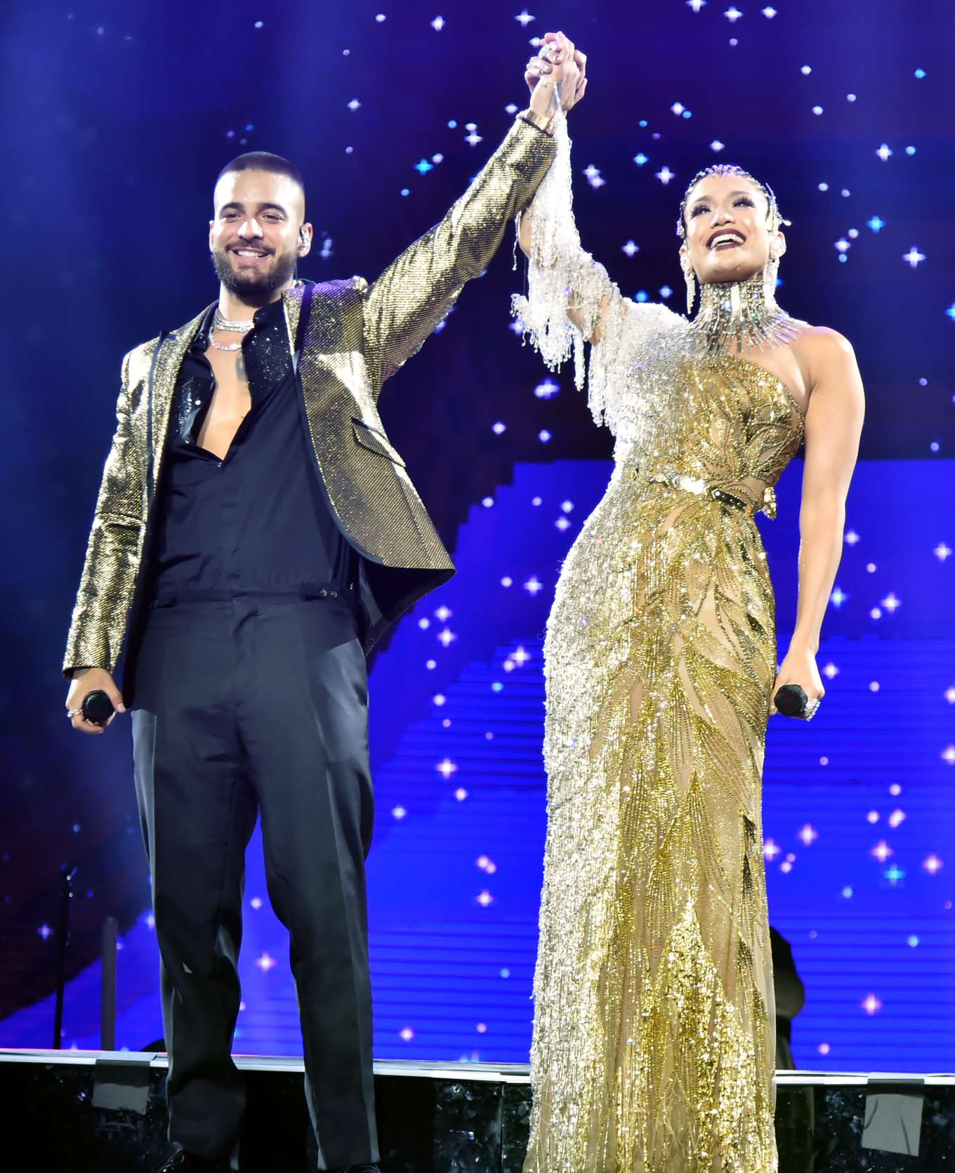 Jennifer Lopez joins Maluma onstage at Madison Square Garden in New York City