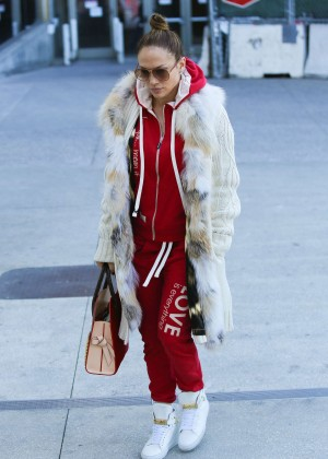 Jennifer Lopez in Red Sweats LAX Airport in LA