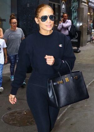 Jennifer Lopez - Leaving a recording studio in New York City