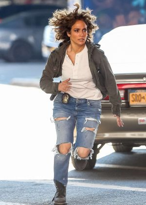 Jennifer Lopez  on set of 'Shades Of Blue' in New York