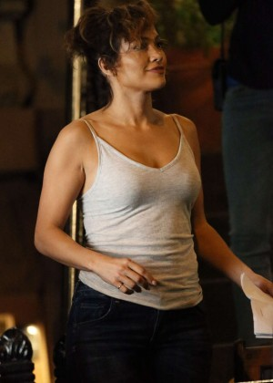 Jennifer Lopez on the set of 'Shades of Blue' in NYC