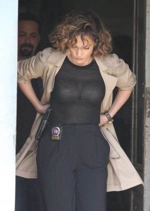 Jennifer Lopez on the set of 'Shades of Blue' in New York City