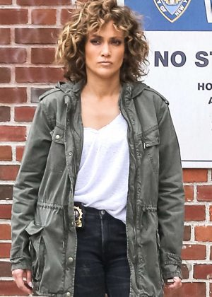 Jennifer Lopez on the set of 'Shades of Blue' in New York
