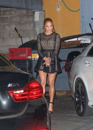 Jennifer Lopez in Mini Dress at Osteria Mozza Restaurant in LA
