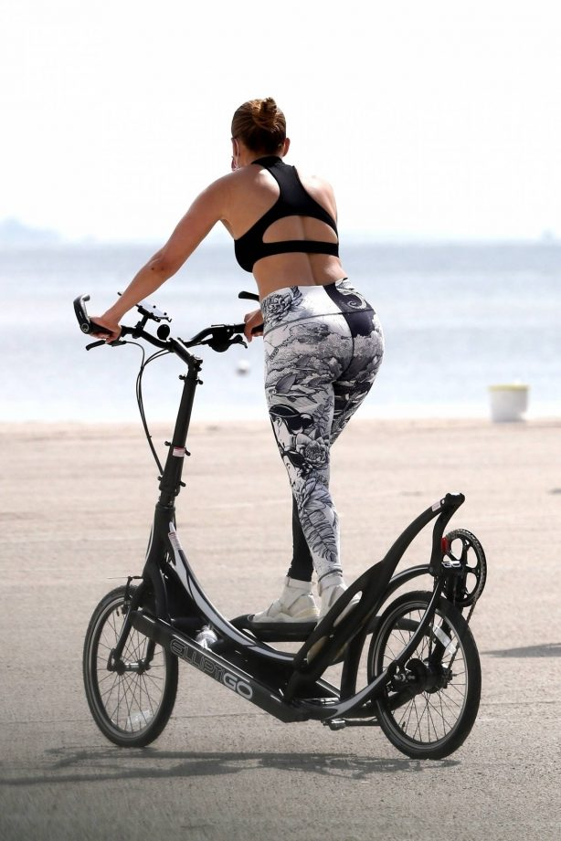 Jennifer Lopez - Out for bike ride with a trainer in Miami