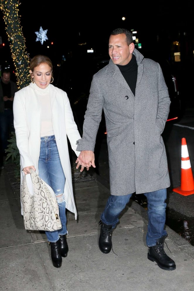 Jennifer Lopez out for dinner at NELLO Restaurant in New York