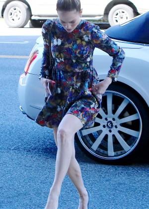 Jennifer Lopez in Mini Dress Out in Burbank