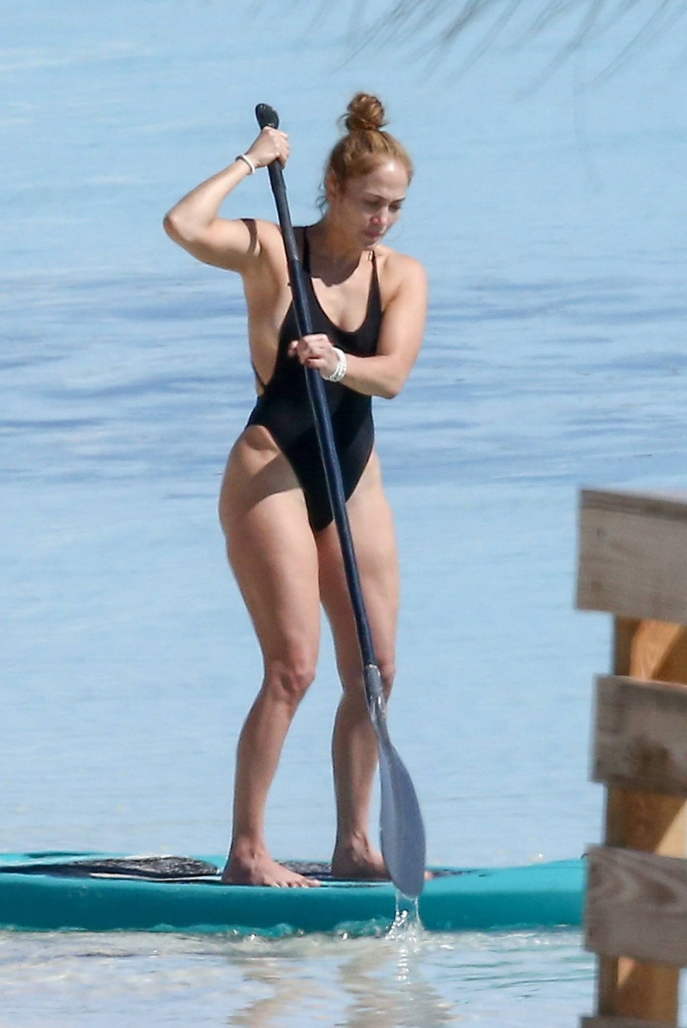 Jennifer Lopez - Paddle boarding at a beach in Turks and Caicos