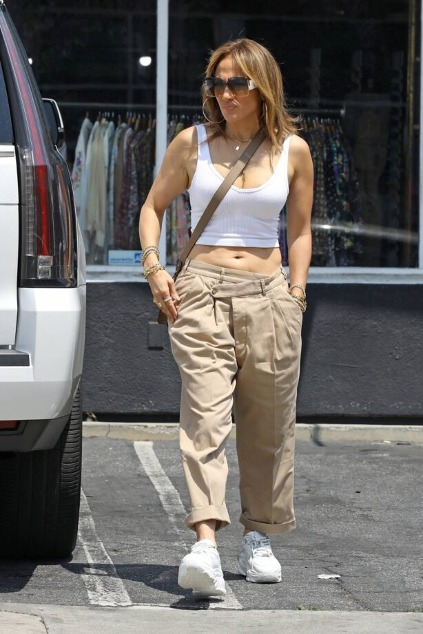 Jennifer Lopez - Shows off her midriff while out in Beverly Hills