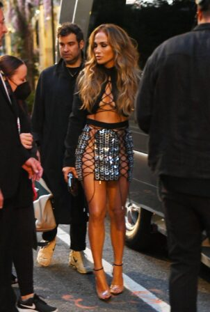 Jennifer Lopez - steps out for the VMA's wearing a lace-up skirt and top in New Yor