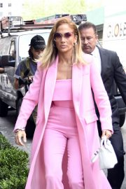 Jennifer Lopez - Wearing all pink business suit out in New York City
