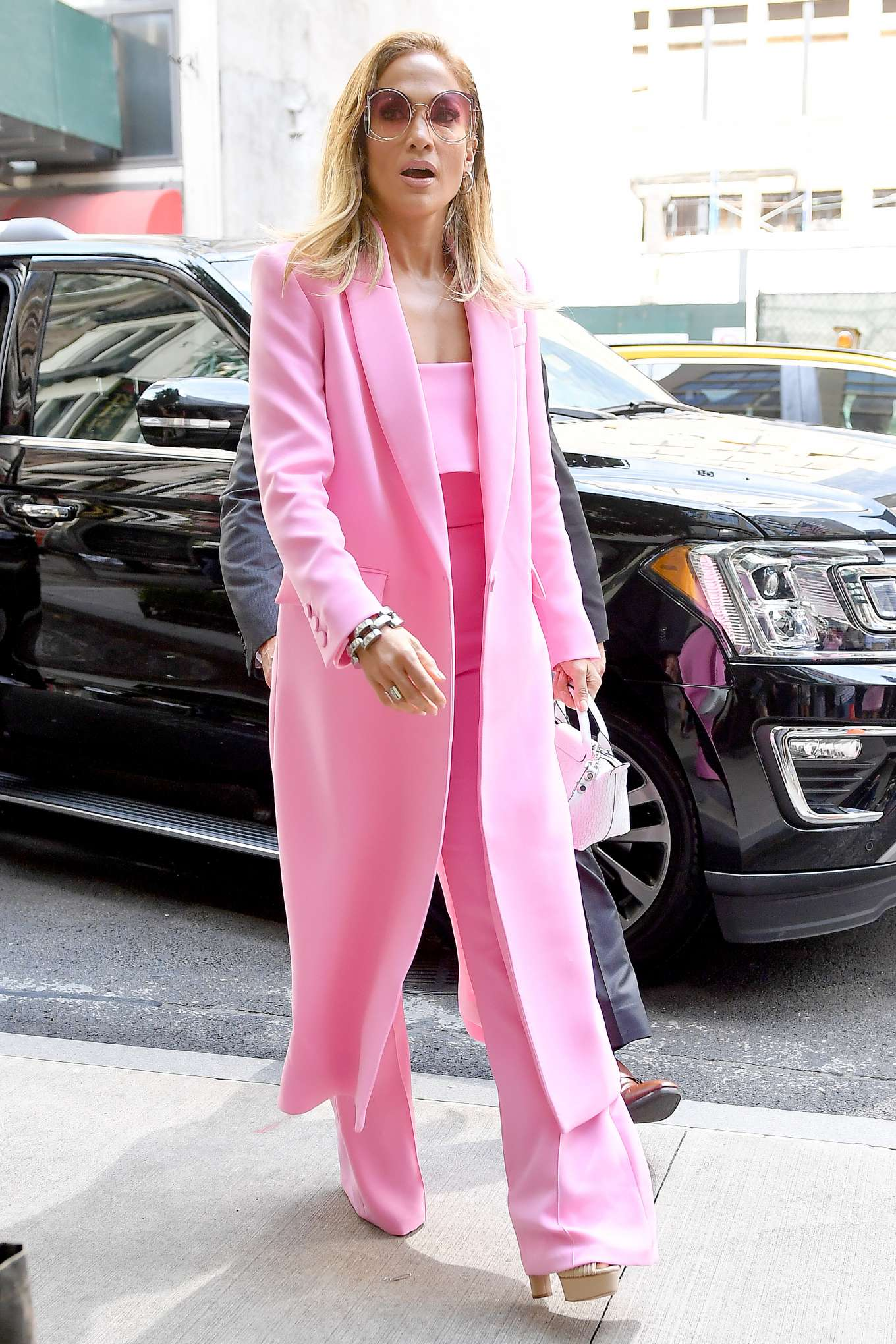 Jennifer Lopez 2019 : Jennifer Lopez – Wearing all pink business suit-15