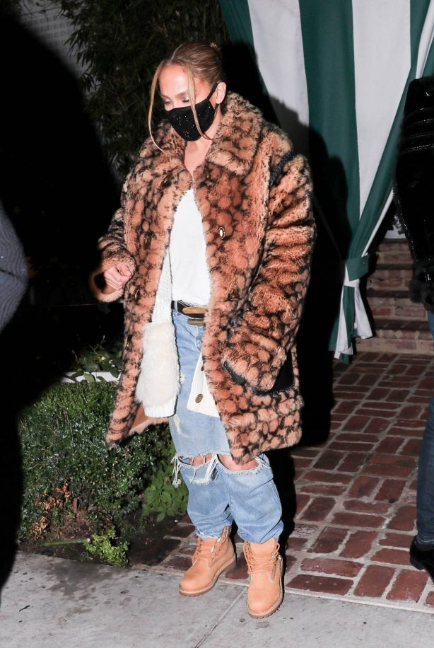 Jennifer Lopez - Wears animal print Coach coat with Timberland boots in Hollywood