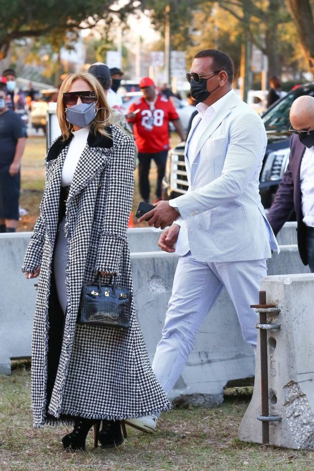 Jennifer Lopez - With Alex Rodriguez arriving at the Super Bowl in Tampa