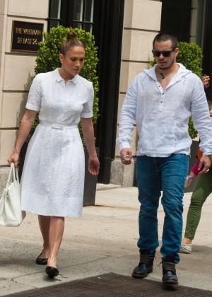 Jennifer Lopez with Casper Smart Out in NYC
