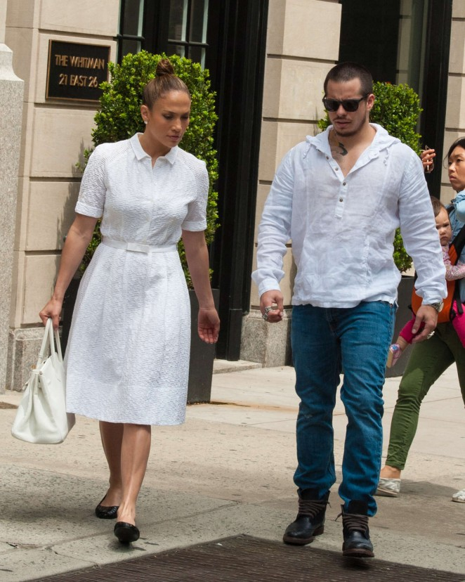 Jennifer Lopez with Casper Smart Out in NYC
