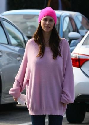 Jennifer Love Hewitt in Pink Sweater Leaving The Market in Malibu