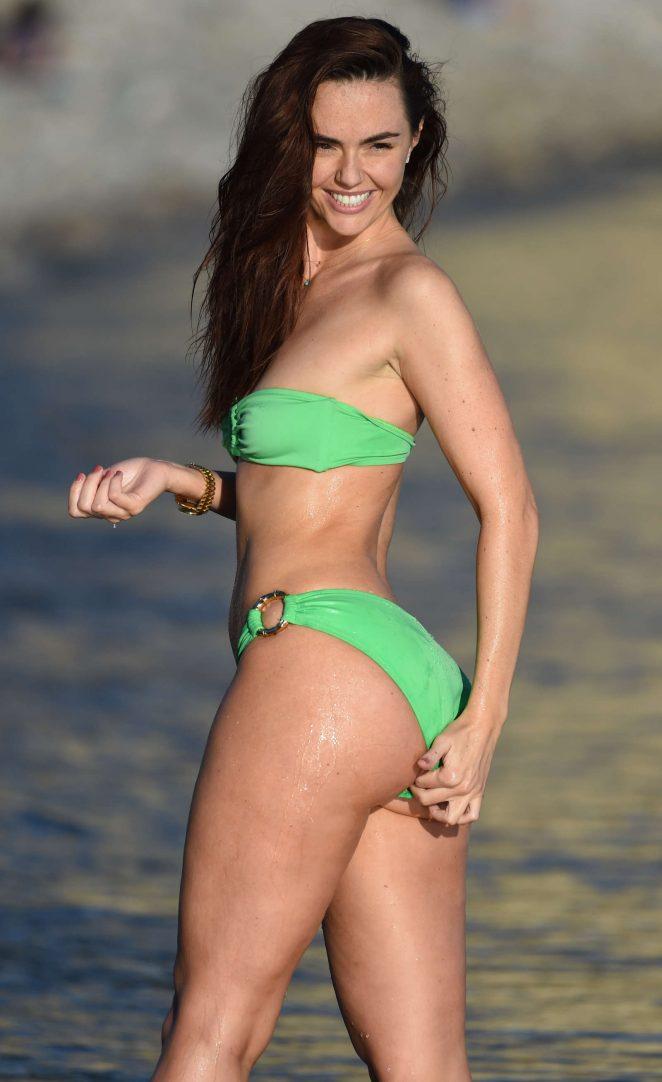 Jennifer Metcalfe in Green Bikini at a Beach in Ibiza
