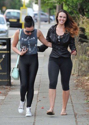 Jennifer Metcalfe & Stephanie Davis in Leggins out in Liverpool