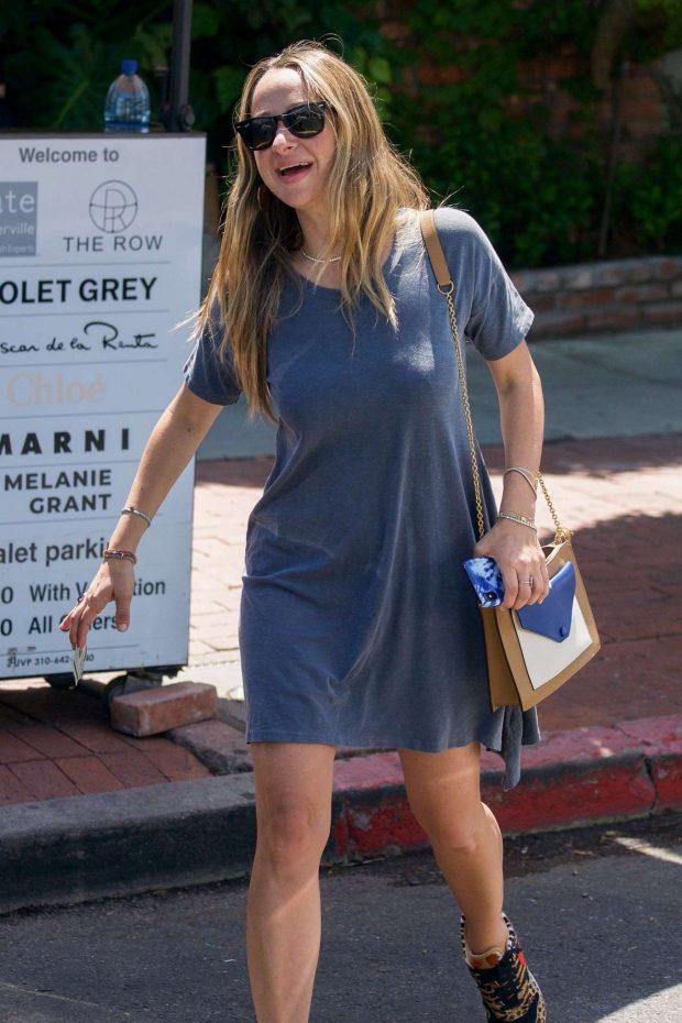 Jennifer Meyer in Blue Mini Dress - Out in LA