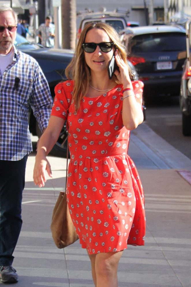Jennifer Meyer in Red Dress Shopping in Beverly Hills