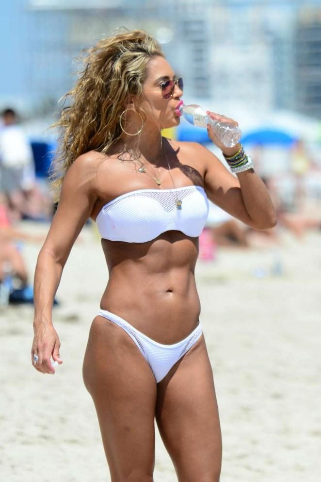 Jennifer Nicole Lee in White Bikini in Miami