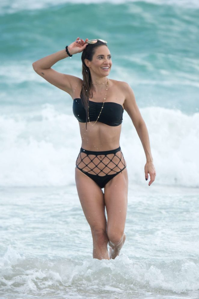 Jennifer Nicole Lee in Black Bikini at a beach in Miami