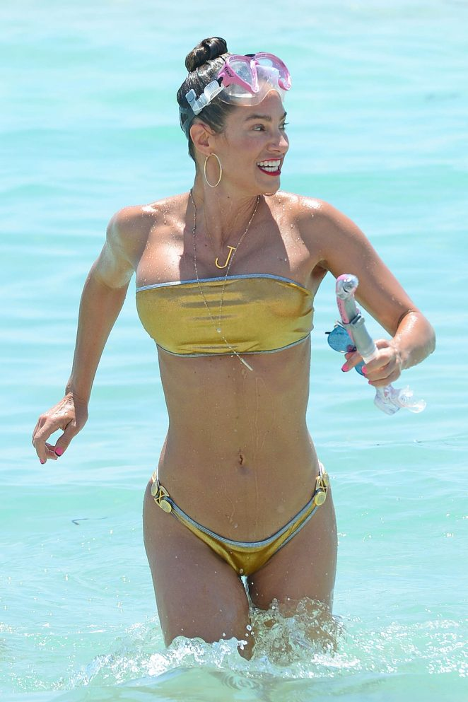 Jennifer Nicole Lee in Gold Bikini in Miami Beach