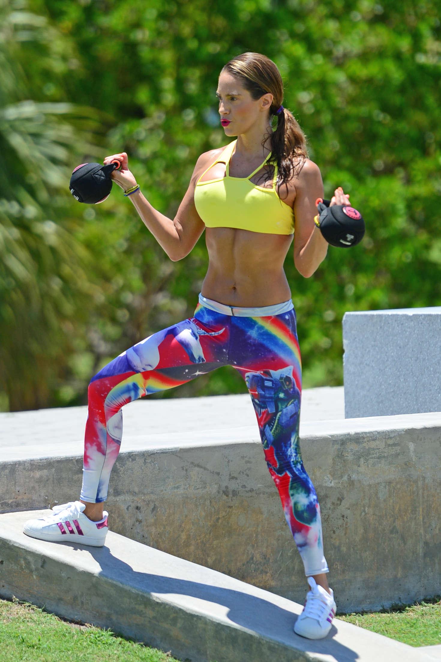 Jennifer Nicole Lee in Tights and Sports Bra in Miami