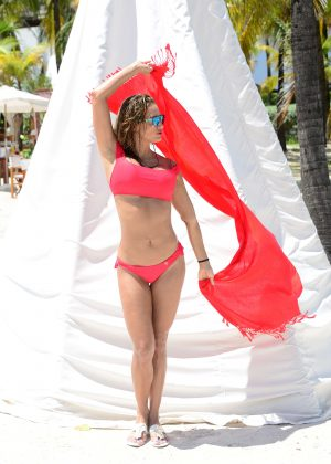 Jennifer Nicole Lee - Red Bikini Photoshoot at a beach in Miami